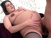 Knocked-up bitch with huge nipples filling her cunt with huge cock