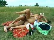 Bloated preggy slut cummed outdoor